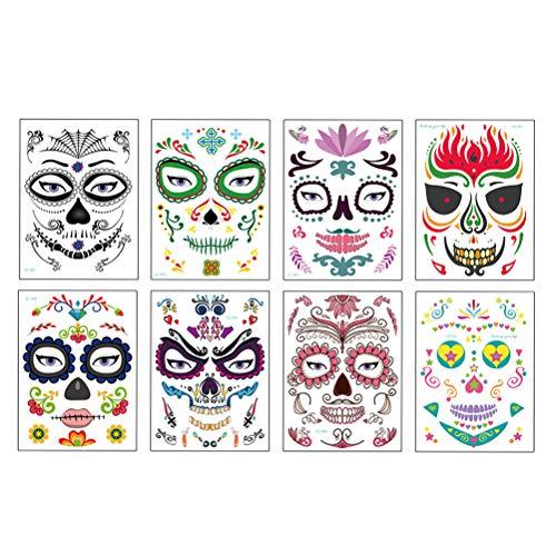 Etiqueta engomada del tatuaje de la cara de 8 hojas para Halloween, tatuaje temporal del cráneo colorido Etiqueta engomada del maquillaje del cráneo del día de los muertos para la fiesta del festival