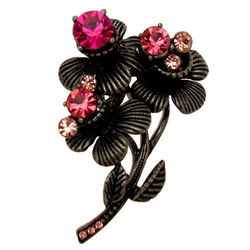 Acosta - fucsia rosa - cristales de Swarovski broche con forma de ramo de flores - - caja de regalo negro venta Friday