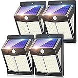 Claoner Lámparas solares para exteriores, [4 unidades] 140 LED para exteriores, con detector de movimiento, 270°, luz solar superbrillante