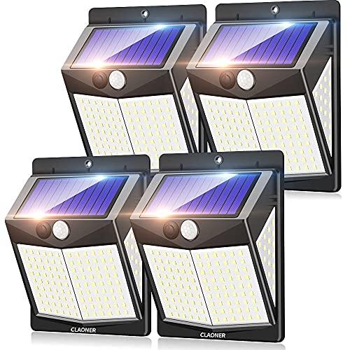 Claoner Solarlampen für Außen mit Bewegungsmelder, 140 LED Solar Bewegungsmelder Aussen Solarleuchten für Außen, 3 Modi 270° Superhelle IP65 Wasserdichte Solar Wandleuchte für Garten