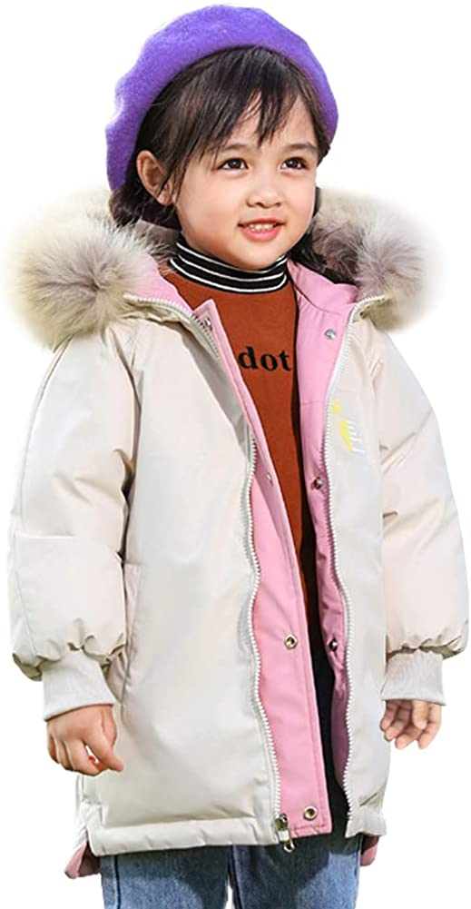LSPAR Kid's Winter Coat Warm Padded Puffer Water-Resistant Jacket with Fur Collar Hood
