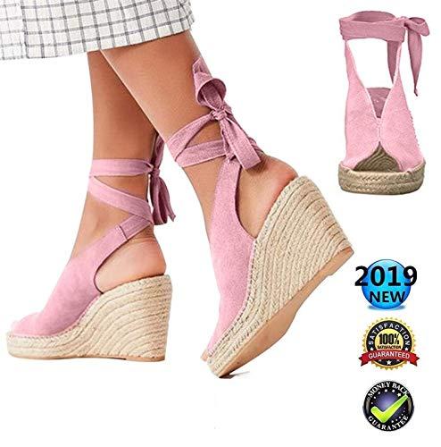 Sandals dames zomer, vrouwen elegante wighak espadrilles, Plateau enkelriem gesp wigsandalen, vlak leer Peep Toe comfortabele casual schoenen, 8 cm hoge hak roze