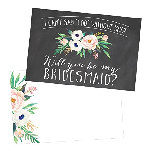 15 Will You Be My Bridesmaid Cards Chalkboard, I Can't Say I Do Without You, Rustic Proposal Note For Gifts, Blank Chalk Ask To Be Your Bridesmaids Invitations Set, Asking A Bridesmaid Invite