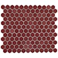 """SOMERTILE Tribeca 1"""""""" Hex Glossy Rusty Red 11-7/8"""""""" x 10-1/4 Porcelain Mosaic Floor and Wall Tile (10 Tiles/8.65 sqft.) (FTC1TRGROU)"""