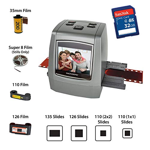 "Magnasonic All-in-One High Resolution 22MP Film Scanner, Vibrant 2.4"" LCD Screen, Converts 126KPK/135/110/super 8 Film, Slides & Negatives into Digital Photos, with Bonus 32GB SD Card (FS50)"