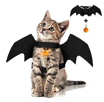 Pet Cat Halloween Costume Bat Wings Black for Puppy Dog Kitten Clothes LED Pendant