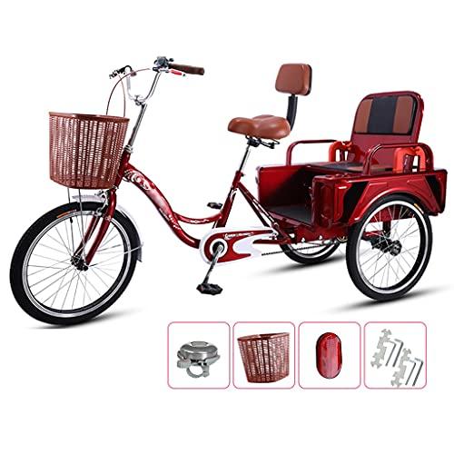 OFFA Bicicletas De Tres Ruedas para Adultos, Mujeres, Personas Mayores, 20'Cruiser, Bicicletas De 3 Ruedas, Diseño Plegable, Modos Duales para Tripulación Y Carga, Asiento Cómodo con Niño