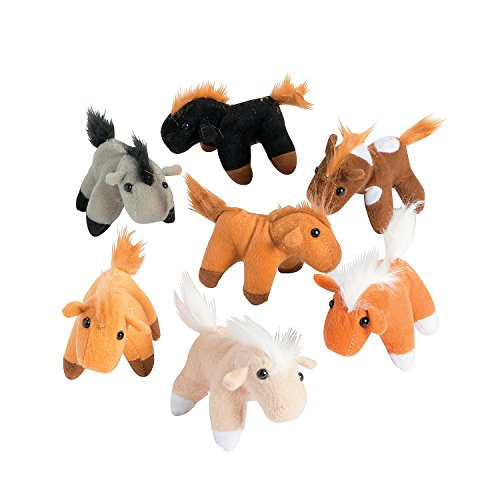 Fun Express FNEIN-6/934 Bulk Plush Horses, 1 Dozen, 3 Inches, Assorted Colors