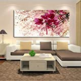 Pintura de Paisaje de Flor roja Abstracta Moderna con Estampado de HD sobre Lienzo, Arte de Pared, decoración, Imagen nórdica Moderna para Sala de estar-60x120cm sin Marco