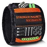 HANPURE Pulsera magnética con el mejor regalo para hombres,herramientas,tornillos,clavos,pernos,taladros y herramientas pequeñas para hombre Envase de 1 Negro y naranja