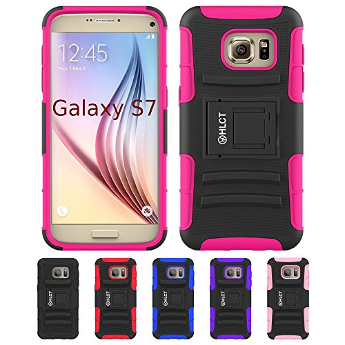 Galaxy S7 Stand Case, HLCT Rugged Shock-Proof Dual Layer PC and Soft Silicone Case with Built in Kickstand for Samsung Galaxy S7 (2016) (Rose Pink)