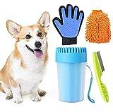 Pulitore Zampe Cane Portatile,Pulitore Zampe per Animali Domestici,Guanti in Microfibra per Spolverare,per Pulire Artigli Sporchi,Pettine per Pulci,Guanto Spazzola per Cani