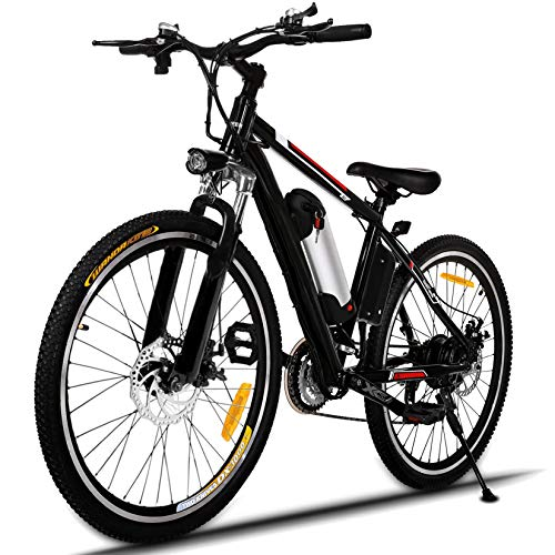 Hicient Electric Bike Electric Bicycle for Adult 26'' Electric Mountain Bike 250W Ebike 21 Speed Gear with Removable Lithium Battery and Battery Charger (Black)