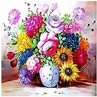 5D DIYダイヤモンド絵画バイナンバーキット、DIYハンドメイドラインストーン絵画、モザイクキャンバスアートホームウォールの装飾、花 (Color : 50x60cm/19.69x23.62inch)