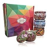 Velas perfumadas de aromaterapia para el hogar, cera de soja natural, 4.4 oz, vela de estaño portátil de viaje con jazmín, vela de cera de soja para aliviar el estrés y aromaterapia, paquete de 4