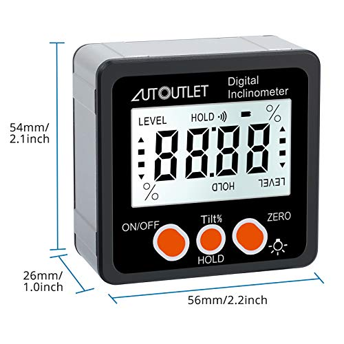 AUTOUTLETデジタル角度計アングルメーターレベルボックス水平器LCDバックライト付き強力磁石付き4x90°防水小型角度計傾斜計アルミ合金製