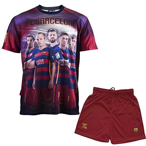 FC Barcelona Set Trikot + Shorts Barça, Messi Suarez Neymar Piqué Iniesta, offizielle Kollektion, Kindergröße, Jungen 14 Jahre blau