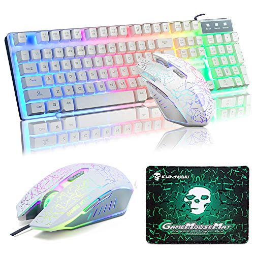 UrChoiceLtd Teclado Raton Teclado Arcoiris Arcoiris Backlit Teclado USB + 2400DPI Raton 6 Botones Optical LED Gaming Raton Para Ordenador + Juego Mouse Pad 240 * 200 * 3mm Tamano Estandar (Blanco)
