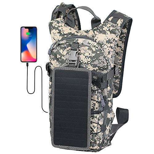 Jauch Solar Backpack JDP Alaska 8 Camo with Removable Solar Panel with 5W USB Output | for Smartphones, Tablets, Power Banks and Much More