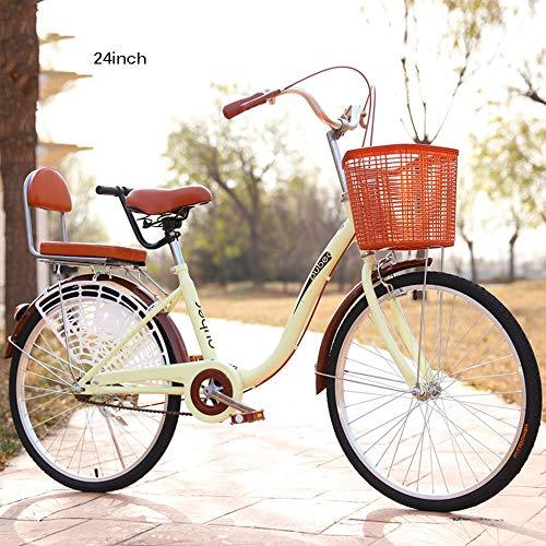 LLGHT Damenfahrrad, 24 Zoll, Fahrrad-Licht, Mädchen-Damen-Citybike, Damen-Mädchen-Kinder-Fahrrad, Hollandrad, Retro-Design, Kinderfahrrad (Color : Brown)