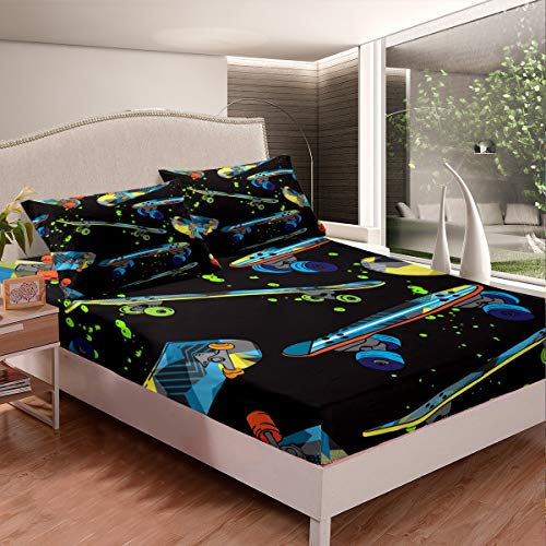 Loussiesd Watercolor Print Bed Sheet Set Boys Youth Skateboard Sports Fitted Sheet Kids Teens Street Culture Bedding Set Hippie Hipster Bed Cover,Room Decor 2Pcs Sheets Single Size
