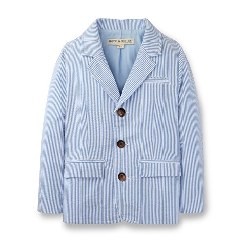 Hope & Henry Boys Blue Seersucker Suit Jacket