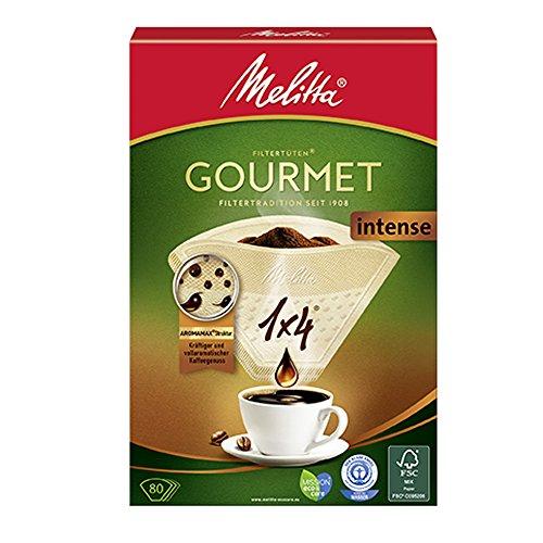Melitta 1x4 Gourmet Filtertüten, Intense, Aromamax Struktur, Naturbraun, (4 x 80 Stück)