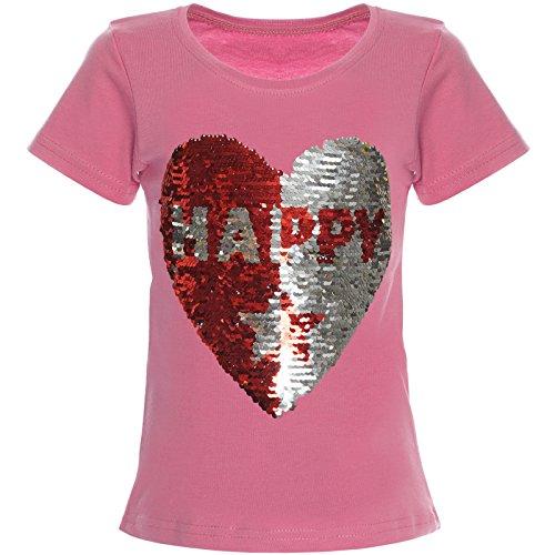 Kinder Mädchen T-Shirt Wende-Pailletten Bluse Shirt 21357 Rosa Größe 104