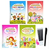4PCS Magic Reusable Practice Copybook with 1 Pen for Kids - Calligraphy Workbook Set Number & Letter, Drawing, Mathematics Hand Lettering Practice Books - Perfect for Children Beginners