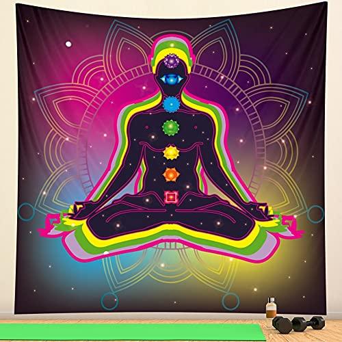 PPOU Tapiz de meditación de Estatua de Buda Indio, Tapiz de brujería, Tapiz Bohemio, Manta, Tela de Fondo A6, 180x200cm