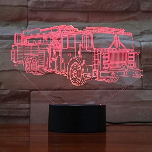 SHJDY Europese brandweer vrachtwagen: nachtlampje, 7 kleuren, 3D-achterlicht, led-flitslicht, afstandsbediening, geschikt voor decoratie van de kamer, kerstcadeaus