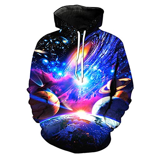 SMYUI 3D Hoodies Sudaderas con Capucha Unisex Divertida Artistic Starry Universe Pattern 3D Impreso Unisex Hoodie-W01273 Kid 3 Artistic Starry Universe Pattern 3D Impreso Unisex Hoodie-W01273 Kid 3