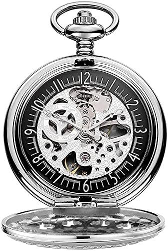 DSADDSD Orologio da tasca Reloj de Bolsillo con Cadena, antigüedad Negra grabada Esqueleto mecánico, Adecuado para cumpleaños, Aniversario
