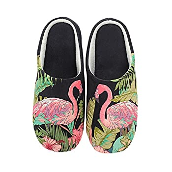 Colias Wing Flamingo Pattern Warm Winter Indoor Outdoor Slippers for Women