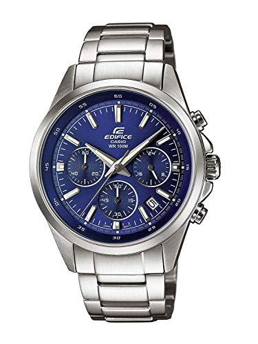 Casio EDIFICE Reloj en caja sólida, 10 BAR, Negro/Blanco, para Hombre, con Correa de Acero inoxidable, EFR-527D-2AVUEF