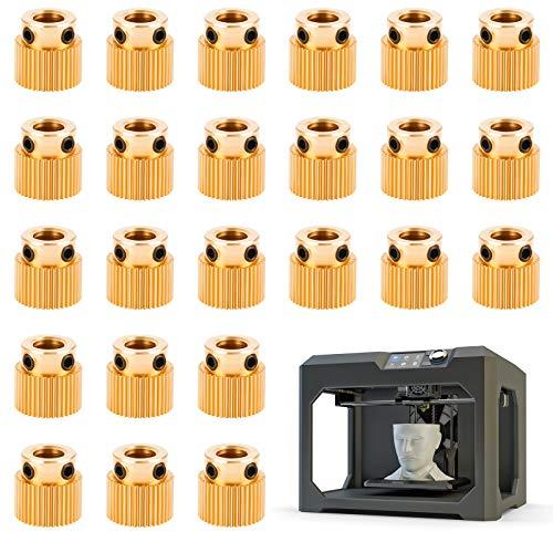 Ruota estrusore, stampante 3d a 24 ruote dentate per CR-10 CR-10S S4 S5 Ender 3 Ender 3 Pro, ingranaggio estrusore è realizzato in ottone di alta qualità e ruota dentata in ottone (40 denti)