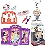 Royal Girls Elsa Pocket Pop! Figure Keychain Hanger Bundled with Castle Princess Plate + Sandwich Cutter & Mealtime Fun 4 Items