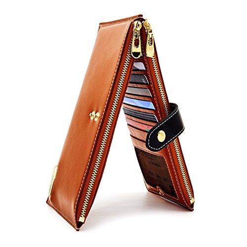 ANDOILT Womens Genuine Leather Wallet RFID Blocking Credit Card Holder Zipper Purse Cell Phone Handbag Brown