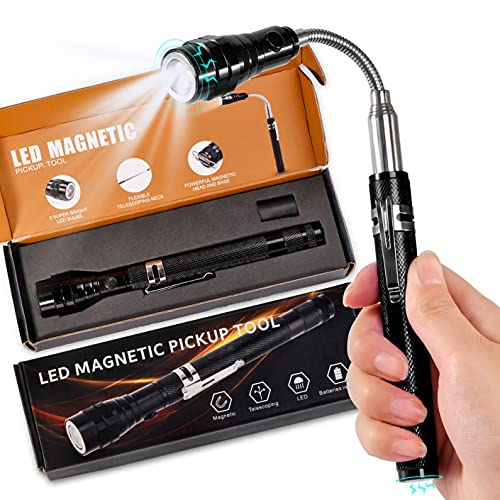 Gifts for Dad&Men Fathers Day-Magnetic Pickup Tool with LED, Telescoping Magnet Flashlight Pickup Stick Cool Gadget,Birthday Thanksgiving Day Christmas Stocking Stuffers Gift for Husband Boyfriend Him