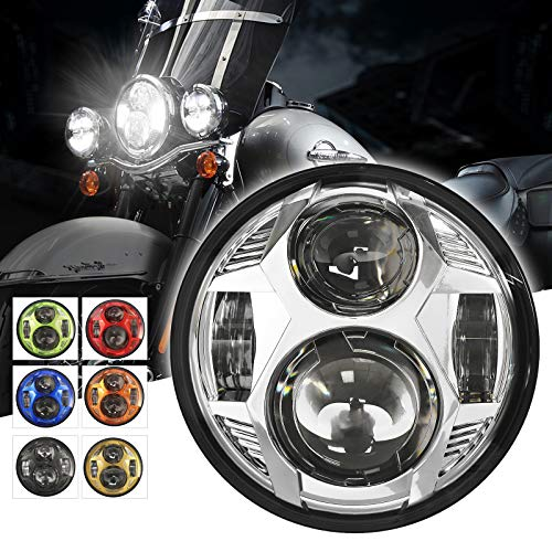 5-3/4 5.75 inch LED Headlight for Harley Dyna Street Bob Super Wide Glide Low Rider Night Rod Train Softail Deuce Custom Sportster Iron 883-Black Custom Super Wide Glide Motorcycle,Chrome