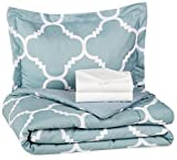 AmazonBasics 5-Piece Bed-In-A-Bag Comforter Bedding Set - Twin or Twin XL, Dusty Blue