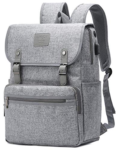 HFSX Rucksack für Damen und Herren, Vintage-Rucksack, College-Rucksack, Reise-Büchertasche, Laptop-Büchertaschen, mit USB-Ladeanschluss, grau, passend für 15,6 Zoll Notebook