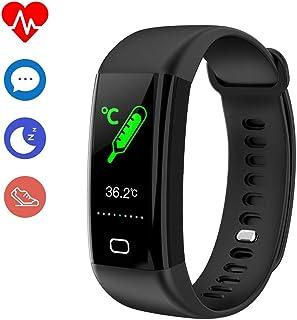FJLOVE Pulsera Actividad Reloj Inteligente Smartwatch Deportivo IP68 Bluetooth con Medición De Temperatura Pulsómetro Monitor De Sueño, Música para Android E iOS