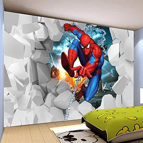 Peintures Murales 3D Briser Le Mur Spiderman Papier Peints Peintures Murales 3D Salon Tv Fond Murale Xxl Poster Tableaux Muraux Tapisserie Photo 250X175Cm