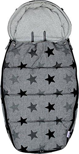 Dooky Footmuff Grey Stars Large Baby Sac pour poussette et siège auto (6-36 mois, hiver, résistant à l'eau et au vent, pour harnais 3 et 5 points), Gris