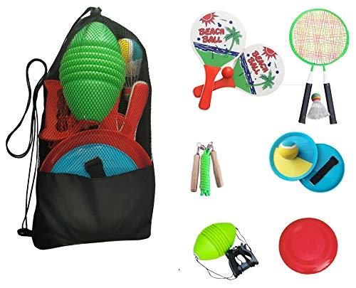 L.A. Sports Garten & Strandspiele Set Beachball Klettball Frisbee Mini-Badminton Boing Ball Spiele für draußen