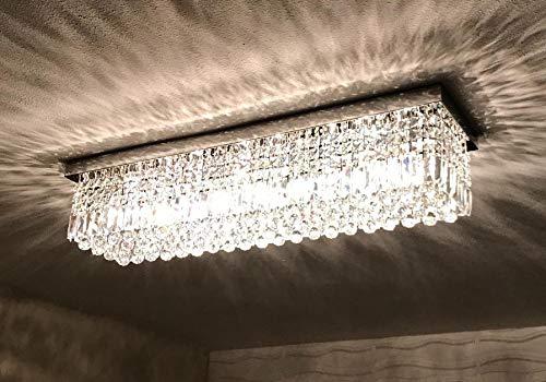 "7PM W47"" x D10"" Modern Rain Drop Rectangle Clear K9 Crystal Chandelier Ceiling Lamp Lighting Fixture 10 Lights for Dining Living Bedroom Room Chrome Frame Flush Mount"