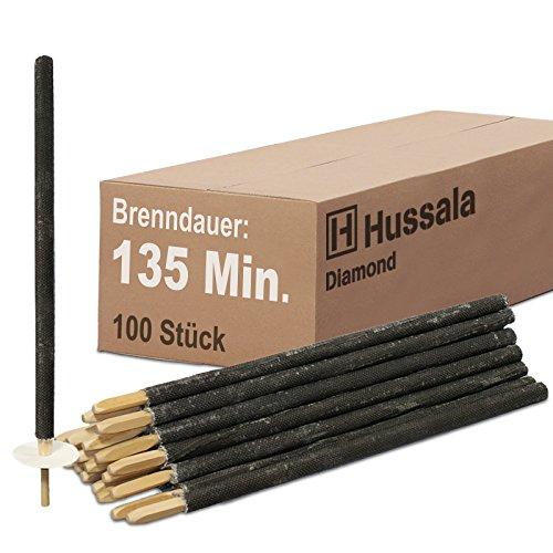Hussala - Diamond Wachsfackeln Brennzeit 135 min Garten-Fackeln [100 Stück]