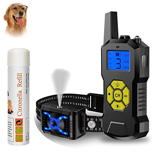 Havenfly Collar de Adiestramiento para Perros Sin Descargas Eléctricas con Rango de 800 Metros, Funciones Spray de Citronela, Vibración, Sonido y Luz LED, Impermeable y Recargable