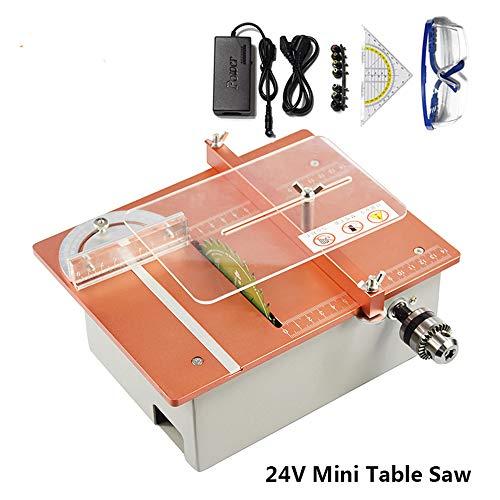 LWQ Mini-Tisch Sägemaschine, DC 24V Tabelle Maschinen Zur Holzbearbeitung DIY Mini Kreissäge DIY-Ausschnitt-Maschine